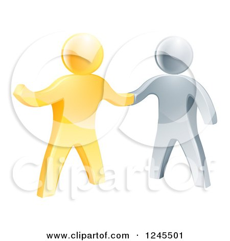 Clipart of a Handshake Between 3d Gold and Silver Men, with One Guy Pointing - Royalty Free Vector Illustration by AtStockIllustration