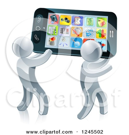 Clipart of 3d Silver Men Carrying a Giant Smartphone - Royalty Free Vector Illustration by AtStockIllustration