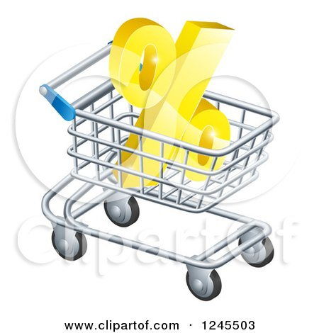 Clipart of a 3d Golden Percent Discount Symbol in a Shopping Cart - Royalty Free Vector Illustration by AtStockIllustration