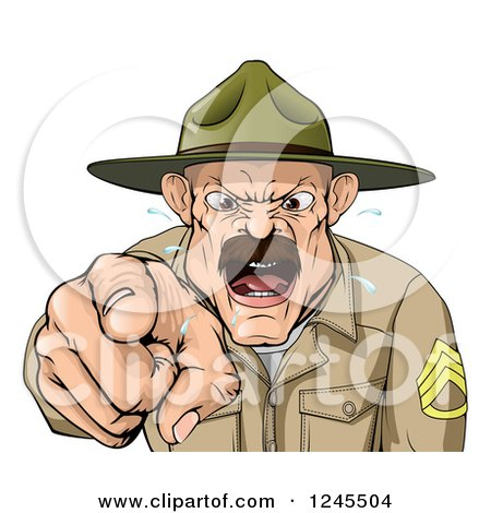 Clipart of a Drill Sargent Spitting and Shouting - Royalty Free Vector Illustration by AtStockIllustration