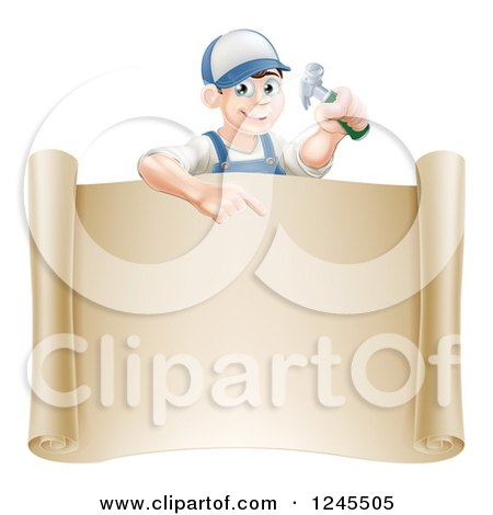 Happy Brunette Worker Man Holding a Hammer and Pointing down at a Scroll Sign Posters, Art Prints