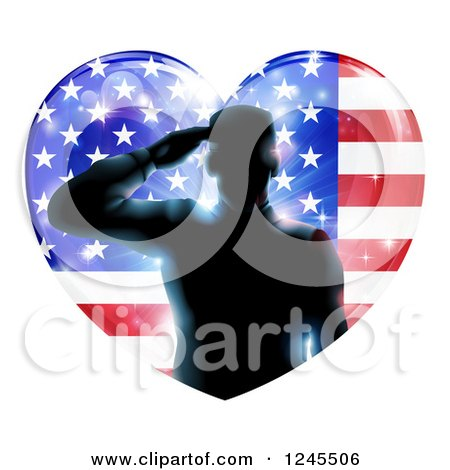 Clipart of a Silhouetted Male Military Veteran Saluting over an American Flag Heart and Bursts - Royalty Free Vector Illustration by AtStockIllustration