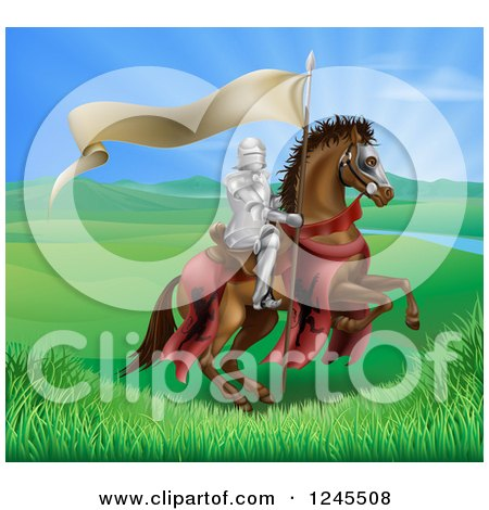 Clipart of a Horseback Medieval Knight in Armor, Riding with a Banner in a Lush Landscape - Royalty Free Vector Illustration by AtStockIllustration