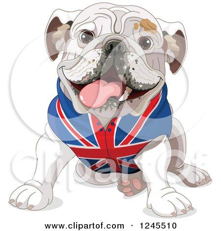 Clipart of a Cute Bulldog Sitting in a British Flag Shirt - Royalty Free Vector Illustration by Pushkin
