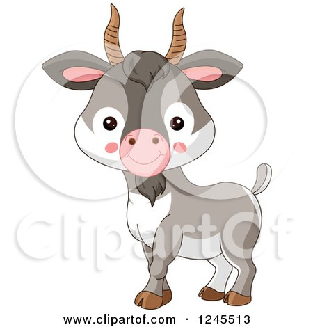 Clipart of a Cute Baby Farm Goat - Royalty Free Vector Illustration by Pushkin