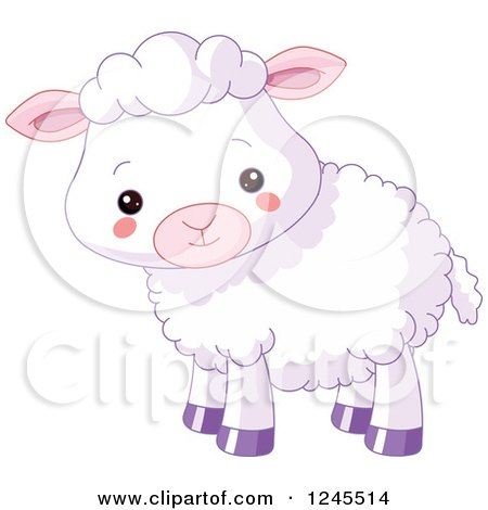 Clipart of a Cute Purple Baby Lamb - Royalty Free Vector Illustration by Pushkin