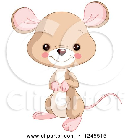 Clipart of a Cute Brown Baby Mouse - Royalty Free Vector Illustration by Pushkin