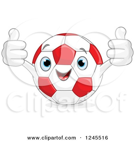Clipart of a Happy Red and White Soccer Ball Holding Two Thumbs up - Royalty Free Vector Illustration by Pushkin