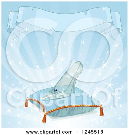 Clipart of a Ribbon Banner Above a Glass Slipper on a Pillow over Blue - Royalty Free Vector Illustration by Pushkin