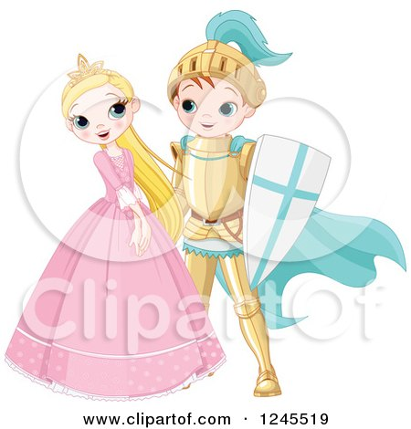 Clipart of a Happy Fairy Tale Fantasy Princess and Knight Flirting - Royalty Free Vector Illustration by Pushkin