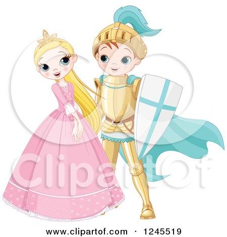 Happy Fairy Tale Fantasy Princess and Knight Flirting Posters, Art Prints
