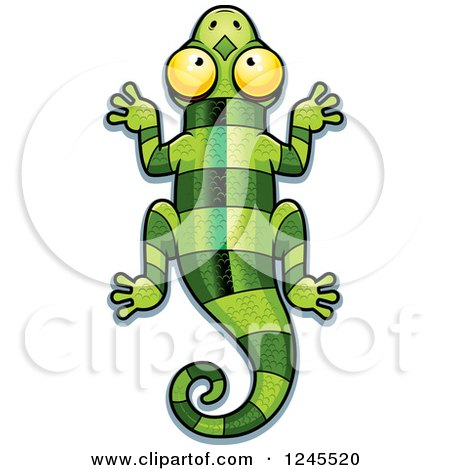 clipart cute green lizard looking up royalty free vector