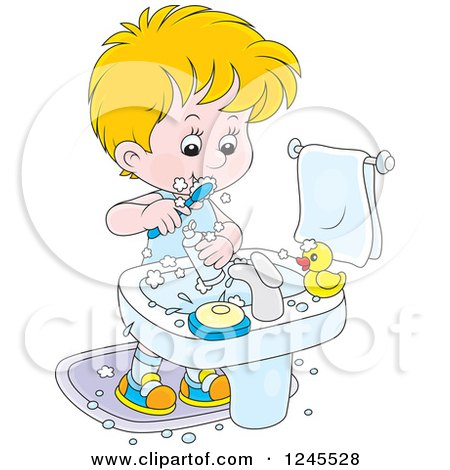 Clipart of a Blond Boy Brushing His Teeth in a Bathroom - Royalty Free Vector Illustration by Alex Bannykh