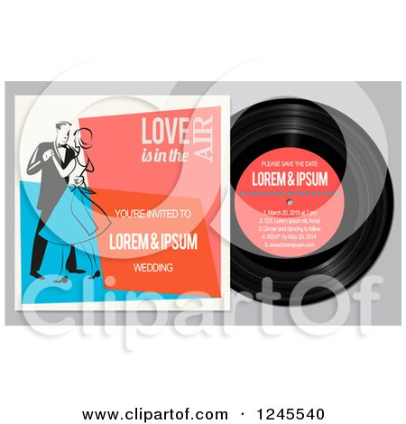 Clipart of a Vinyl Record and Wedding Couple Dancing, with Sample Text - Royalty Free Vector Illustration by Eugene