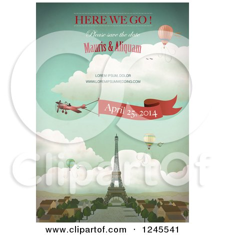 Clipart of a Paris Wedding Announcement over the Eiffel Tower - Royalty Free Vector Illustration by Eugene