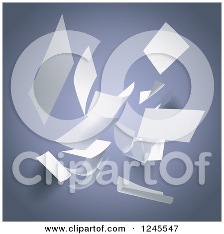 Clipart of Pieces of White Paper Falling over Gray - Royalty Free Vector Illustration by Eugene