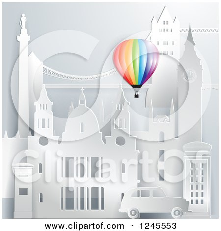 Clipart of a Colorful Hot Air Balloon over 3d London Landmark Buildings - Royalty Free Vector Illustration by Eugene