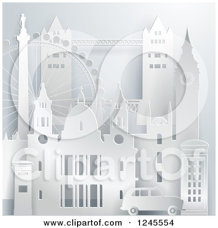 Clipart of a 3d London Landmark Buildings and Attractions - Royalty Free Vector Illustration by Eugene