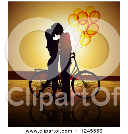 Clipart of a Silhouetted Couple Kissing by a Bicycle with Balloons at Sunset - Royalty Free Vector Illustration by Eugene