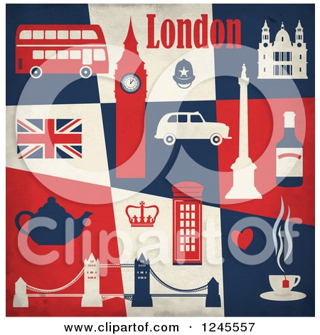 Clipart of a London Landmarks and Transportation over Blue Beige and Red Tiles - Royalty Free Vector Illustration by Eugene