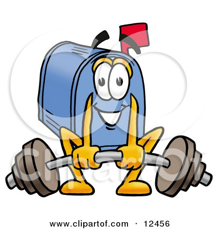 Blue Postal Mailbox Cartoon Character Lifting a Heavy Barbell Posters, Art Prints
