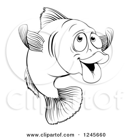 Clipart of a Black and White Happy Cod Fish Gesturing to Come - Royalty Free Vector Illustration by AtStockIllustration