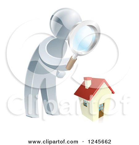 Clipart of a 3d Silver Man House Hunting - Royalty Free Vector Illustration by AtStockIllustration