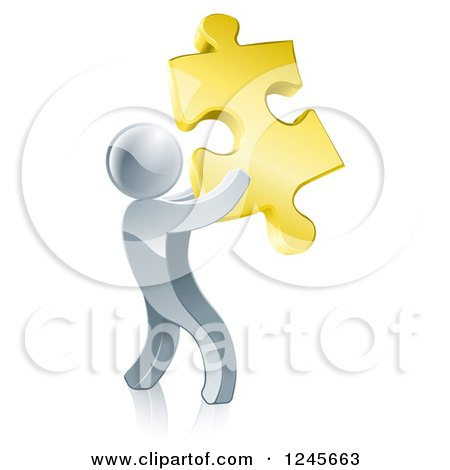 Clipart of a 3d Silver Man Holding a Golden Puzzle Piece - Royalty Free Vector Illustration by AtStockIllustration