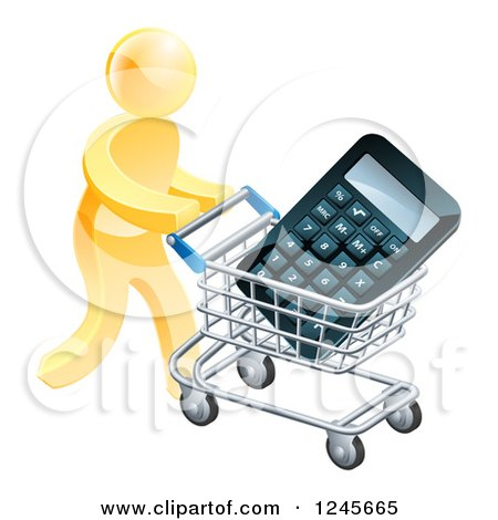 Clipart of a 3d Gold Man Pushing a Calculator in a Shopping Cart - Royalty Free Vector Illustration by AtStockIllustration