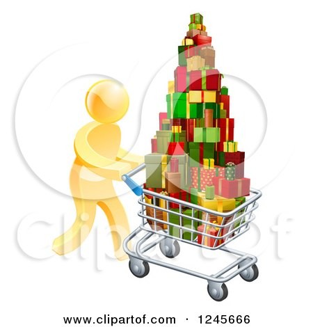 Clipart of a 3d Gold Man Pushing a Shopping Cart Full of Presents - Royalty Free Vector Illustration by AtStockIllustration