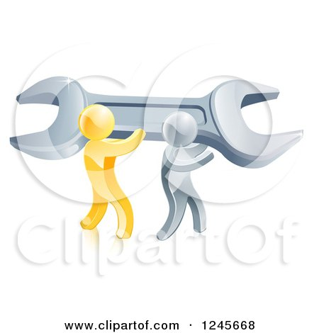 Clipart of a 3d Gold and Silver Men Carrying a Giant Adjustable Wrench - Royalty Free Vector Illustration by AtStockIllustration