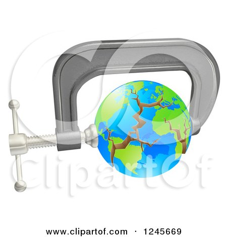 Clipart of a 3d Cracking Earth in a Tight Clamp - Royalty Free Vector Illustration by AtStockIllustration