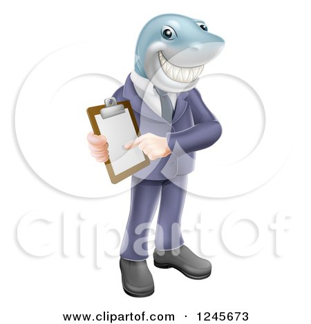 Clipart of a Shark Businessman Pointing to a Contract - Royalty Free Vector Illustration by AtStockIllustration
