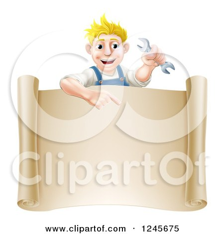 Happy Blond Mechanic Man Holding a Spanner Wrench over a Scroll Sign Posters, Art Prints