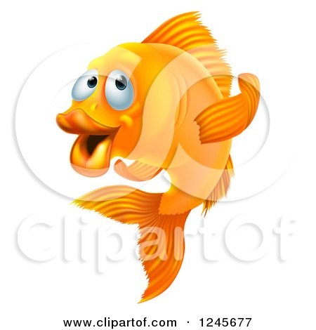 Clipart of a Goldfish Gesturing to Follow - Royalty Free Vector Illustration by AtStockIllustration