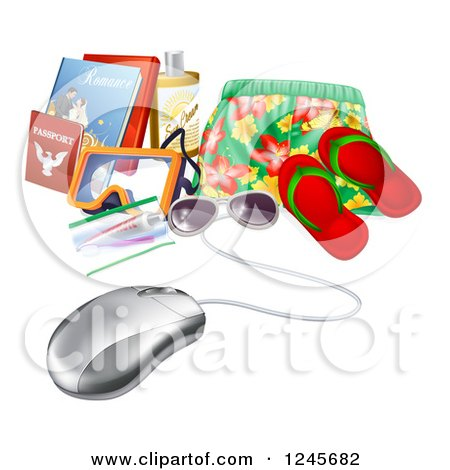 Clipart of a 3d Computer Mouse Wired to Travel Items - Royalty Free Vector Illustration by AtStockIllustration