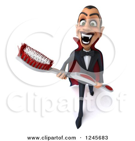 Clipart of a 3d Dracula Vampire Carrying a Giant Toothbrush 2 - Royalty Free Illustration by Julos
