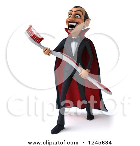 Clipart of a 3d Dracula Vampire Carrying a Giant Toothbrush 3 - Royalty Free Illustration by Julos