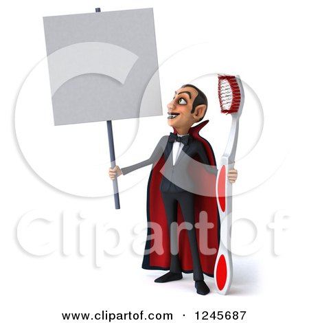 Clipart of a 3d Dracula Vampire with a Giant Toothbrush and Blank Sign - Royalty Free Illustration by Julos