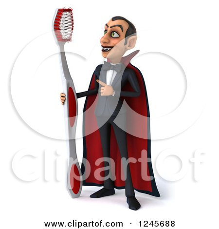 Clipart of a 3d Dracula Vampire with a Giant Toothbrush - Royalty Free Illustration by Julos