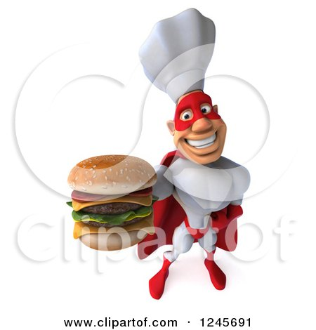 Clipart of a 3d Male Super Chef Holding up a Double Cheeseburger - Royalty Free Illustration by Julos