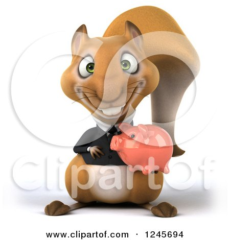 Clipart of a 3d Bespectacled Business Squirrel Holding a Piggy Bank - Royalty Free Illustration by Julos