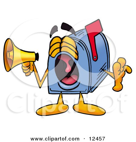 Clipart Picture of a Blue Postal Mailbox Cartoon Character Screaming Into a Megaphone by Toons4Biz
