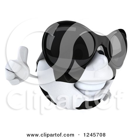 Clipart of a 3d Soccer Ball Character Wearing Shades and Giving a Thumb up - Royalty Free Illustration by Julos