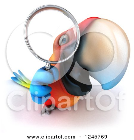 Clipart of a 3d Macaw Parrot Looking Through a Magnifying Glass - Royalty Free Illustration by Julos