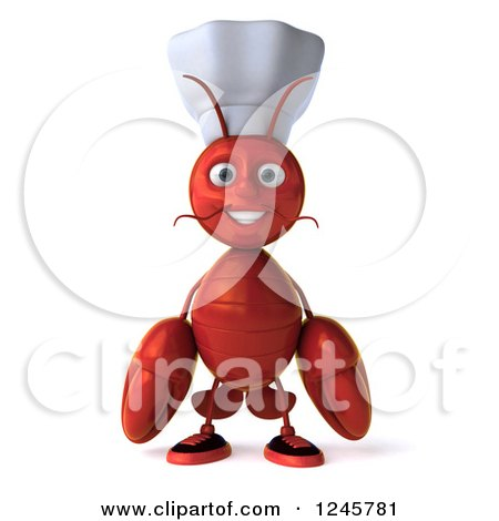 Clipart of a 3d Chef Lobster - Royalty Free Illustration by Julos