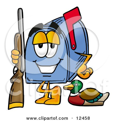 Clipart Picture of a Blue Postal Mailbox Cartoon Character Duck Hunting, Standing With a Rifle and Duck by Toons4Biz