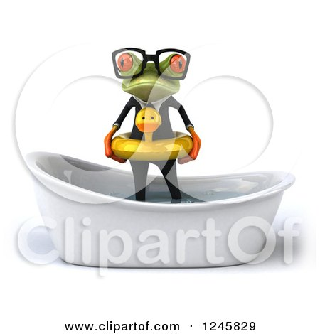 Clipart of a 3d Bespectacled Business Springer Frog Standing with a Duck Inner Tube in a Tub - Royalty Free Illustration by Julos