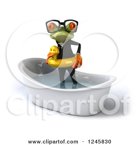 Clipart of a 3d Bespectacled Business Springer Frog Standing with a Duck Inner Tube in a Tub 2 - Royalty Free Illustration by Julos
