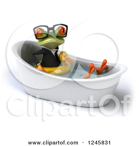 Clipart of a 3d Bespectacled Business Springer Frog Sitting with a Duck Inner Tube in a Tub - Royalty Free Illustration by Julos